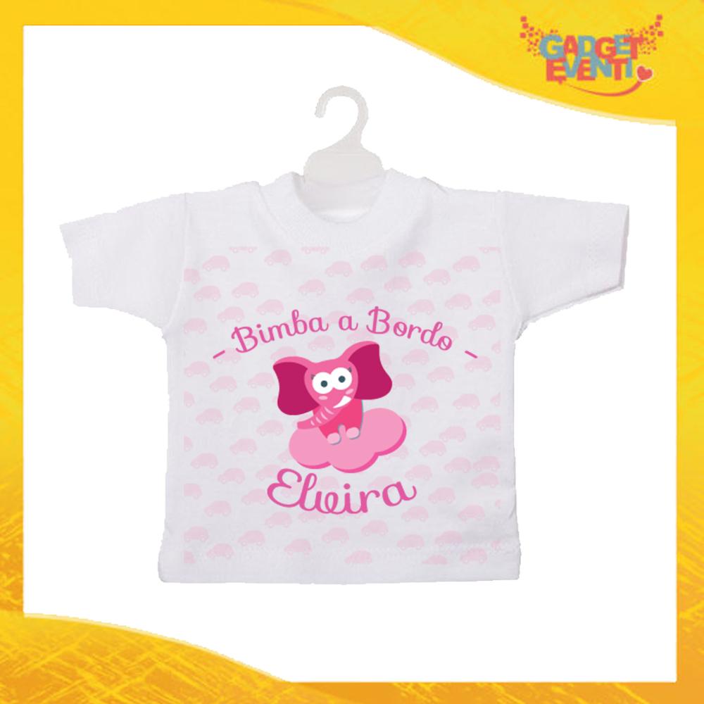 """Mini T-Shirt Bimba Personalizzata Femminuccia """"Elefantino Con Nome"""" Gadget Eventi"""