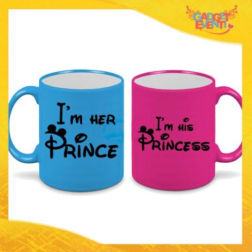"""Coppia di Tazze Fluo Love Personalizzate """"I'm Her Prince Princess"""" Mug Colazione Breakfast Idea Regalo Per Innamorati Gadget Eventi"""" Mug Colazione Breakfast Idea Regalo Per Innamorati Gadget Eventi"""