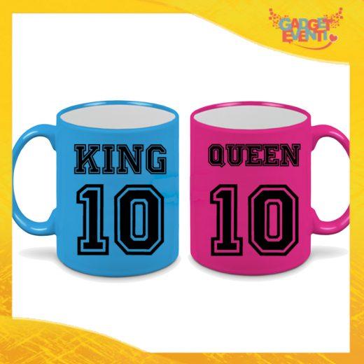 """Coppia di Tazze Fluo Love Personalizzate """"King and Queen con Numero"""" Mug Colazione Breakfast Idea Regalo Per Innamorati Gadget Eventi"""" Mug Colazione Breakfast Idea Regalo Per Innamorati Gadget Eventi"""