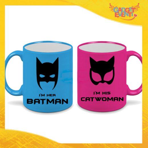 """Coppia di Tazze Fluo Love Personalizzate """"Batman and Catwomn"""" Mug Colazione Breakfast Idea Regalo Per Innamorati Gadget Eventi"""" Mug Colazione Breakfast Idea Regalo Per Innamorati Gadget Eventi"""