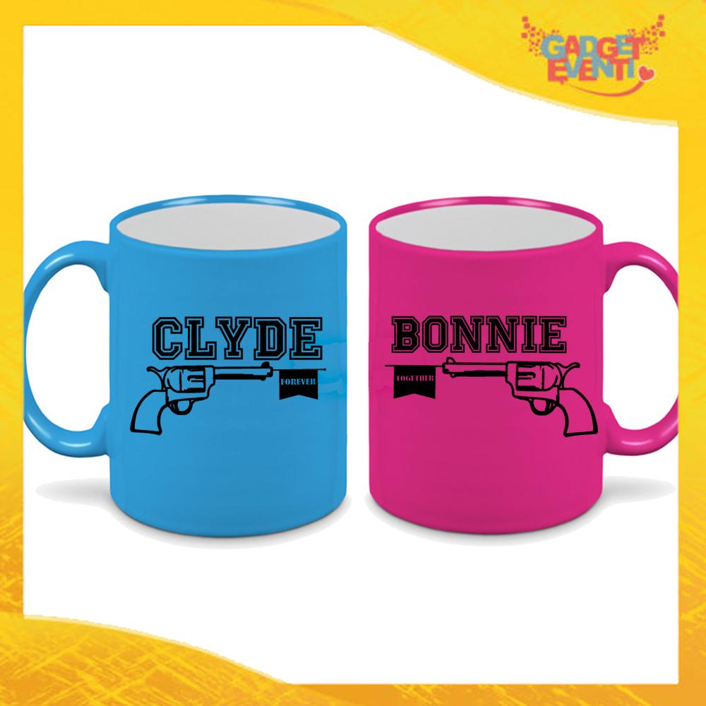 """Coppia di Tazze Fluo Love Personalizzate """"Bonnie and Clyde"""" Mug Colazione Breakfast Idea Regalo Per Innamorati Gadget Eventi"""" Mug Colazione Breakfast Idea Regalo Per Innamorati Gadget Eventi"""