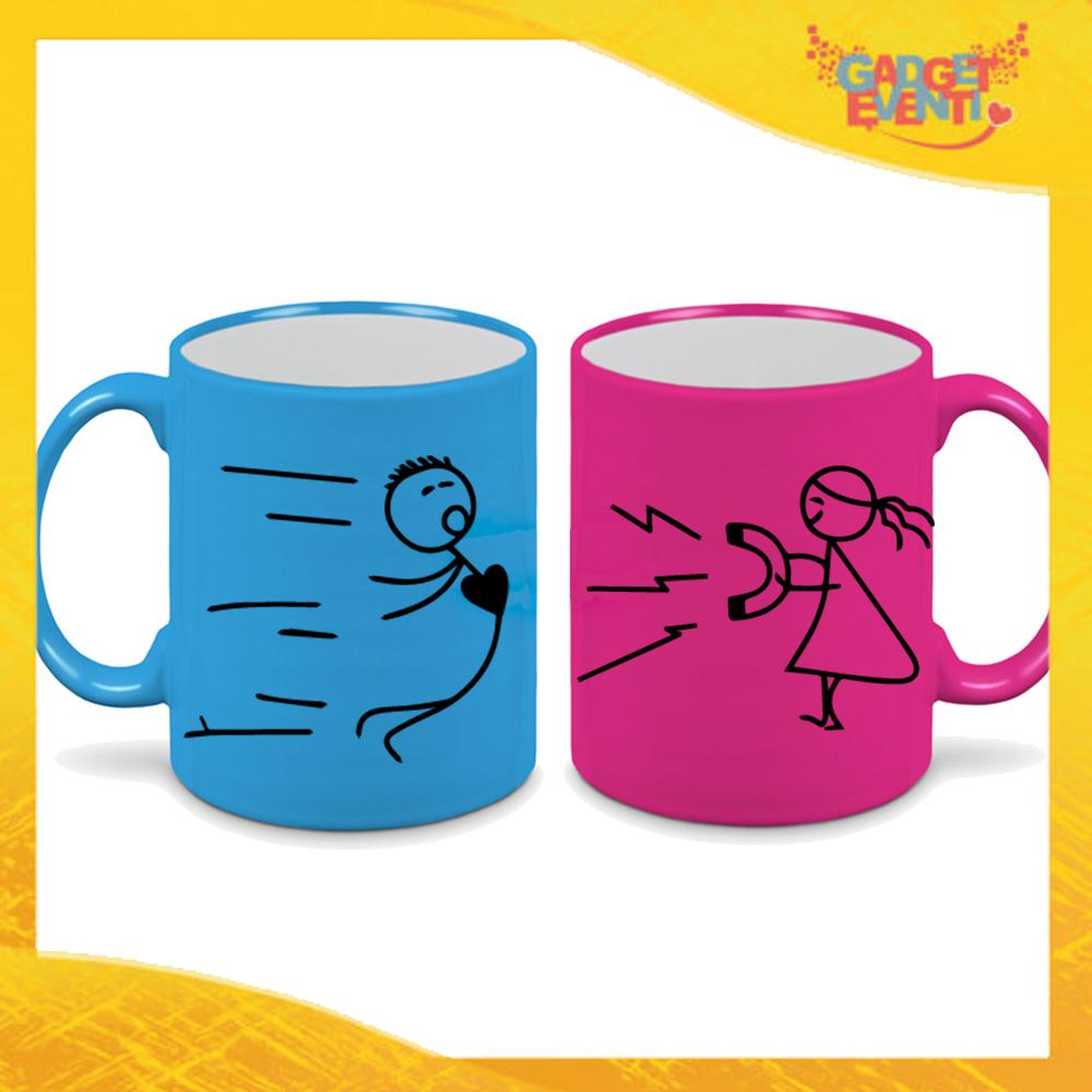 """Coppia di Tazze Fluo Love Personalizzate """"Forza di Attrazione"""" Mug Colazione Breakfast Idea Regalo Per Innamorati Gadget Eventi"""" Mug Colazione Breakfast Idea Regalo Per Innamorati Gadget Eventi"""