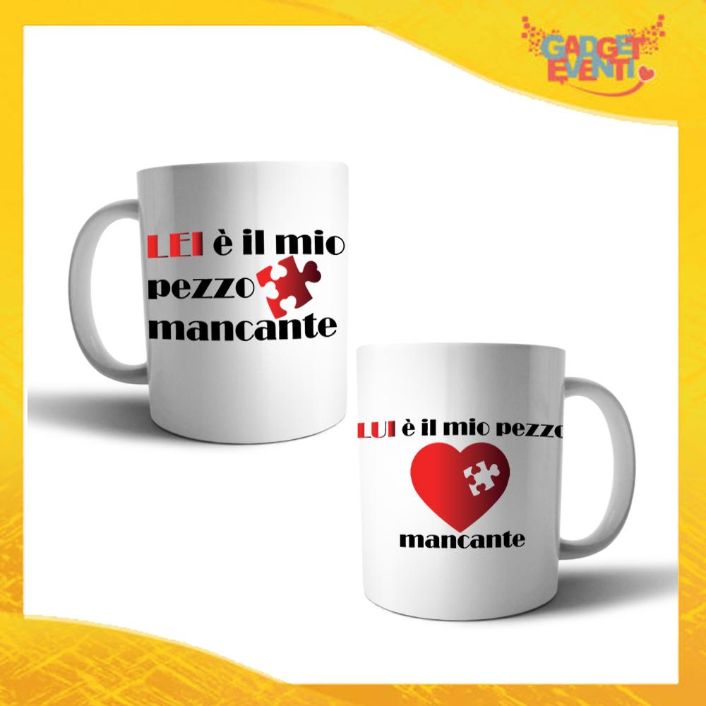 """Coppia di Tazze Love Personalizzate """"Pezzo Mancante"""" Mug Colazione Breakfast Idea Regalo Per Innamorati Gadget Eventi"""