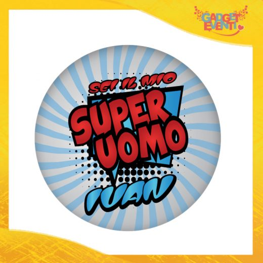 """Mouse Pad Tondo Per Innamorati """"Super Uomo con Nome"""" tappetino pc ufficio idea regalo San Valentino gadget eventi"""
