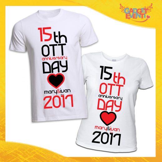"""T-Shirt Coppia Magliette Bianche """"Anniversario con Data e Nomi"""" Gadget Eventi"""