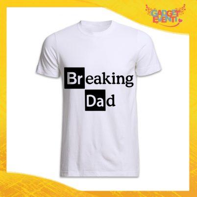 "T-Shirt Uomo Bianca ""Breaking Dad"" Idea Regalo Originale Festa del Papà Gadget Eventi"