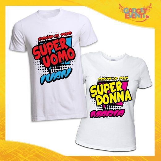 """Coppia di T-Shirt Bianche Love """"Super Uomo Donna con Nome"""" San Valentino Gadget Eventi"""
