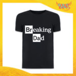 """T-Shirt Uomo Nera """"Breaking Dad"""" Idea Regalo Originale Festa del Papà Gadget Eventi"""