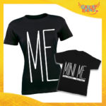 """T-Shirt Madre Figlio Nere """"Mini Me"""" Magliette Idea Regalo Originale Festa del Papà Gadget Eventi"""