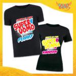"""Coppia di T-Shirt Nere Love """"Super Uomo Donna con Nome"""" San Valentino Gadget Eventi"""
