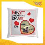 """Cuscino Uomo Love Quadrati Divano Letto Poltrona """"Anniversario con Data e Nome"""" Idea Regalo San Valentino per Coppie di Innamorati Gadget Eventi"""