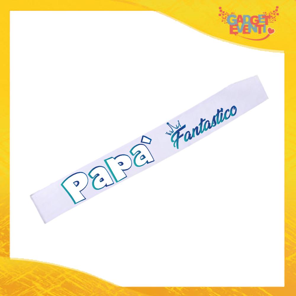 """Fasce """"Papà Fantastico"""" Modello Miss Mister Idea Regalo Festa del Papà Gadget Eventi"""