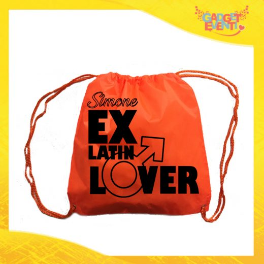 """Sacca Sport Arancio Fluo """"Ex Latin Lover"""" Idea Regalo Per Addii al Celibato Gadget Eventi"""