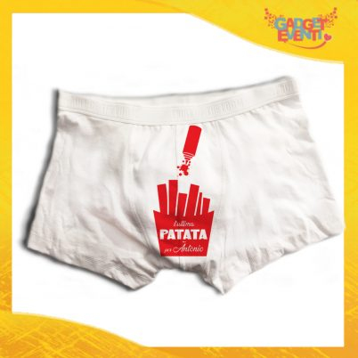 """Boxer da Uomo Bianco Personalizzato """"Ultima Patata Con Nome"""" Articolo Intimo Per Addii al Celibato Gadget Eventi"""