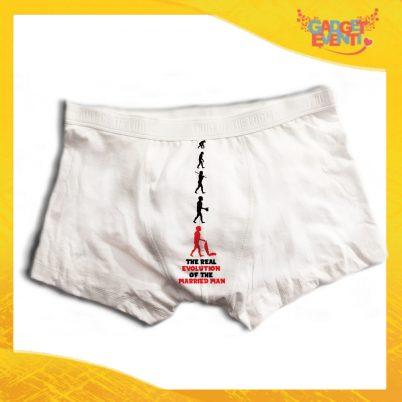 """Boxer da Uomo Bianco Personalizzato """"Evoluzione"""" Articolo Intimo Per Addii al Celibato Gadget Eventi"""