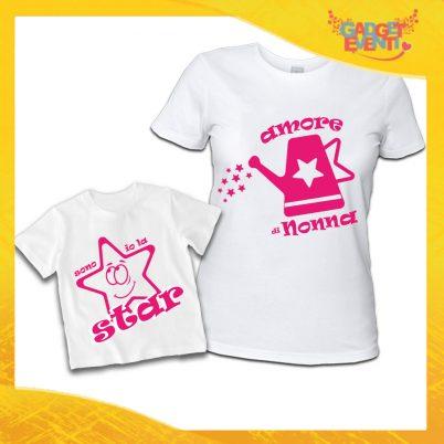 """Coppia di T-Shirt Bianche """"Sono Io la Star"""" Idea Regalo Festa dei Nonni Gadget Eventi"""
