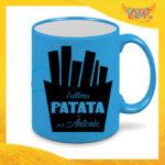 """Tazza Fluo Blu Personalizzata """"Ultima Patata Con Nome"""" Mug Colazione Breakfast Idea Regalo Per Addii al Celibato Gadget Eventi"""
