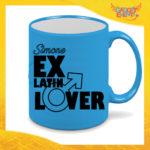 """Tazza Fluo Blu Personalizzata """"Ex Latin Lover"""" Mug Colazione Breakfast Idea Regalo Per Addii al Celibato Gadget Eventi"""