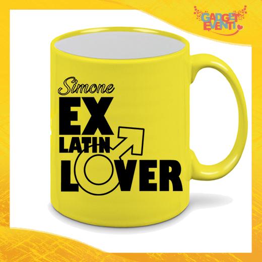 """Tazza Fluo Gialla Personalizzata """"Ex Latin Lover"""" Mug Colazione Breakfast Idea Regalo Per Addii al Celibato Gadget Eventi"""