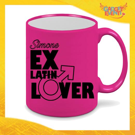 """Tazza Fluo Fucsia Personalizzata """"Ex Latin Lover"""" Mug Colazione Breakfast Idea Regalo Per Addii al Celibato Gadget Eventi"""