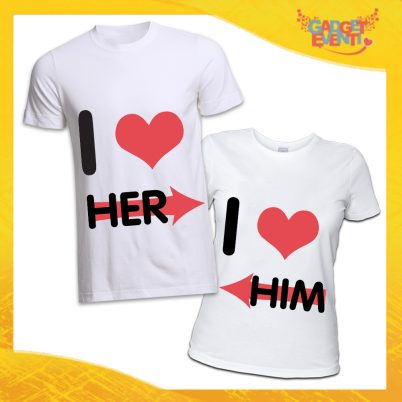 "T-Shirt Bianca Coppia Maglietta ""I Love Him"" Gadget Eventi"