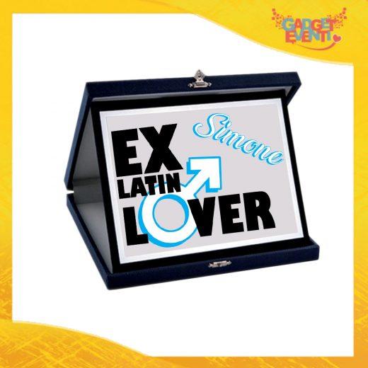 """Targa Uomo Personalizzata """"Ex Latin Lover"""", Cofanetto per Addii al Celibato Idea Regalo Gadget Eventi"""
