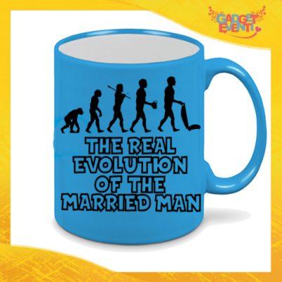 """Tazza Fluo Blu Personalizzata """"Evoluzione"""" Mug Colazione Breakfast Idea Regalo Per Addii al Celibato Gadget Eventi"""