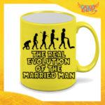"""Tazza Fluo Gialla Personalizzata """"Evoluzione"""" Mug Colazione Breakfast Idea Regalo Per Addii al Celibato Gadget Eventi"""
