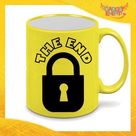 """Tazza Fluo Gialla Personalizzata """"The End"""" Mug Colazione Breakfast Idea Regalo Per Addii al Celibato Gadget Eventi"""