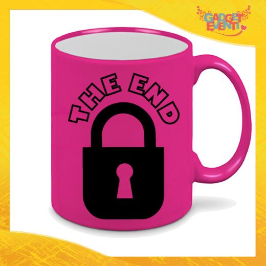 """Tazza Fluo Fucsia Personalizzata """"The End"""" Mug Colazione Breakfast Idea Regalo Per Addii al Celibato Gadget Eventi"""