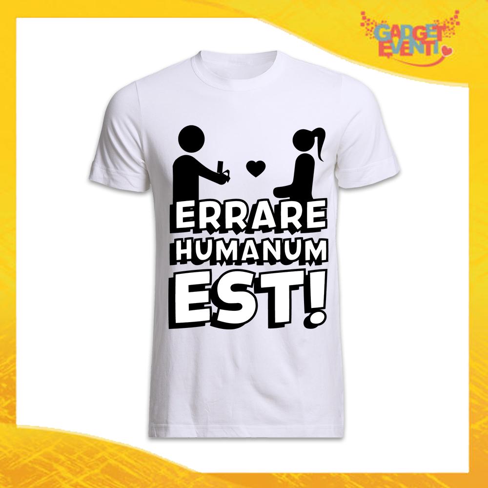 """T-Shirt Uomo Bianca Addio al Celibato Maglietta """"Errare Humanum Est"""" Gadget Eventi"""