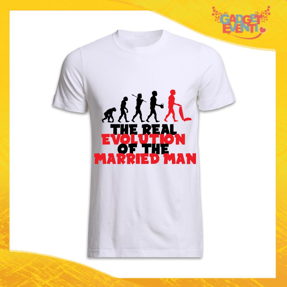 """T-Shirt Uomo Nera Addio al Celibato Maglietta """"Evoluzione"""" Gadget Eventi"""
