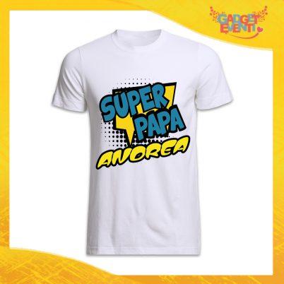 """T-Shirt Bianca Per Uomo Personalizzata """"Super Papa Con Nome"""" Magliette Idea Regalo Originale Festa del Papà Gadget Eventi"""