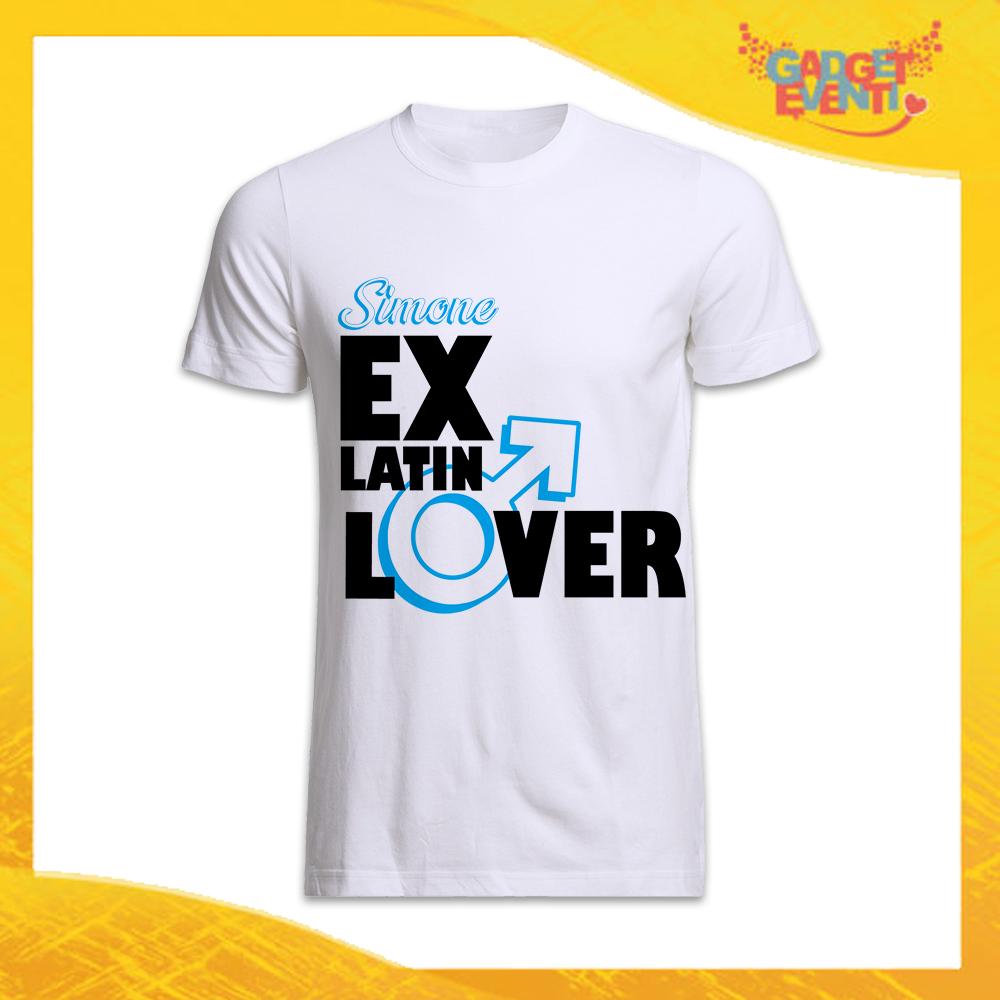 """T-Shirt Uomo Bianca Addio al Celibato Maglietta """"Ex Latin Lover"""" Gadget Eventi"""