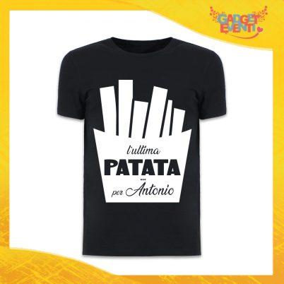 """T-Shirt Uomo Nera Addio al Celibato Maglietta """"Ultima Patata Con Nome"""" Gadget Eventi"""