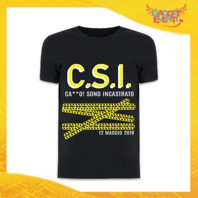"""T-Shirt Uomo Nera Addio al Celibato Maglietta """"Sono Incastrato"""" Gadget Eventi"""