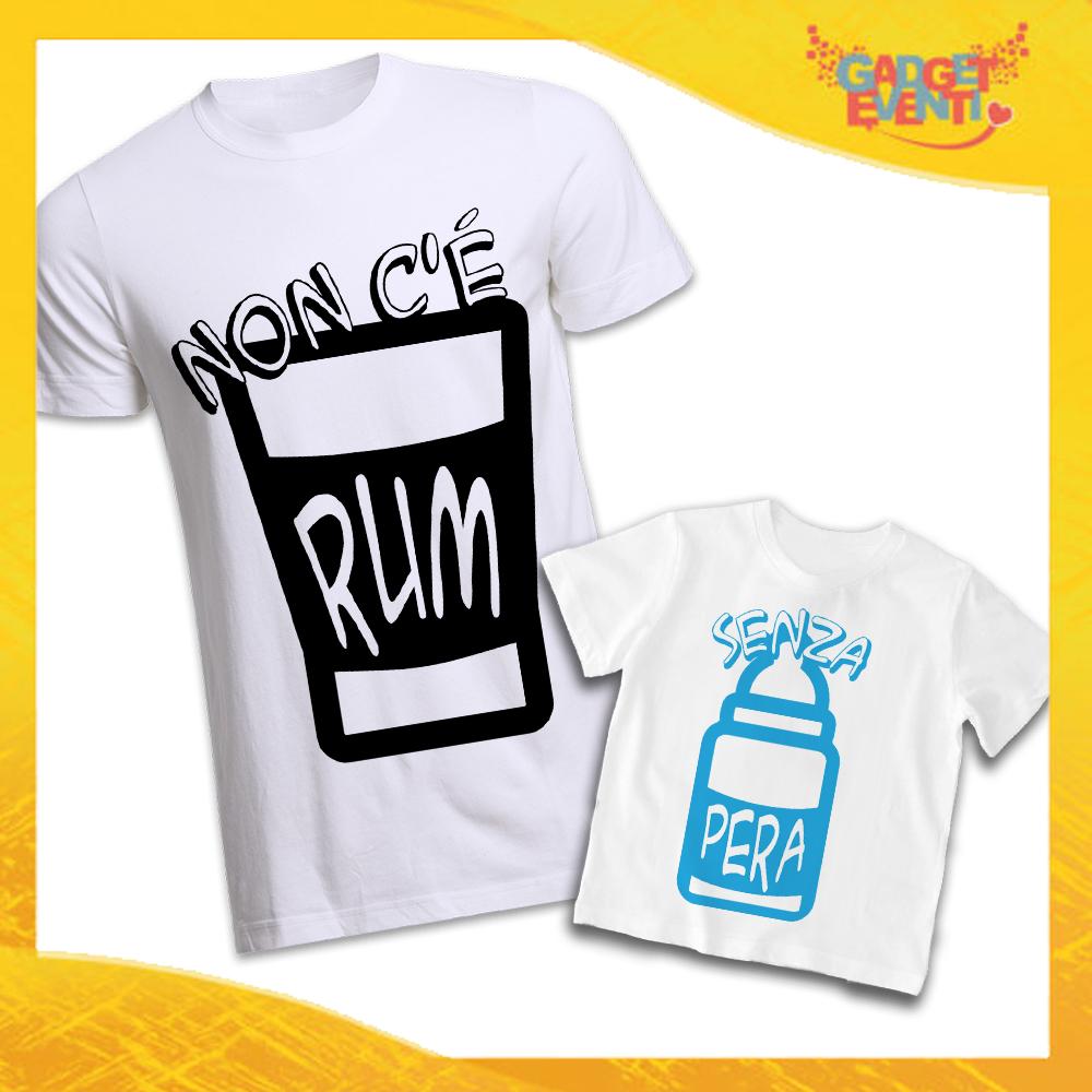 """Coppia di T-Shirt Bianca Padre Figlio Grafica Azzurra """"Rum e Pera"""" Magliette Idea Regalo Originale Festa del Papà Gadget Eventi"""