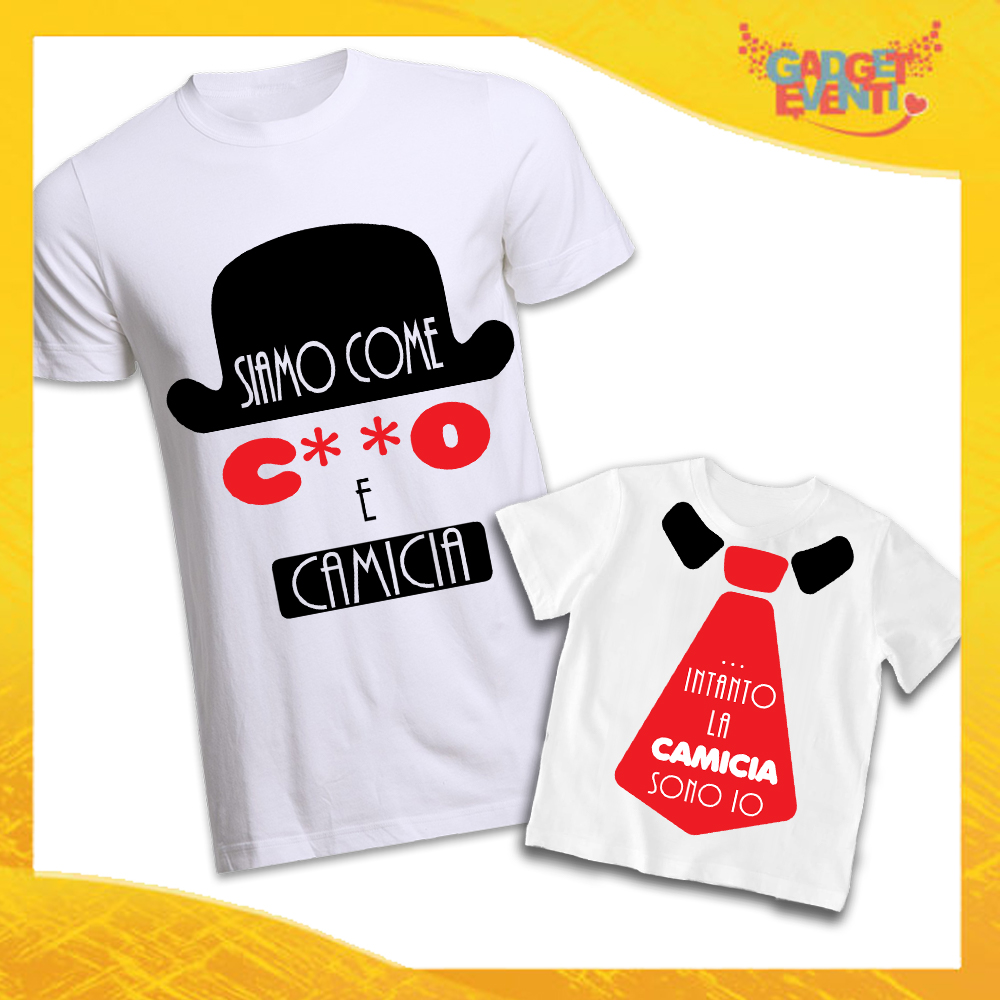 """Coppia di T-Shirt Bianche Padre Figlio Grafica Rossa """"Culo e Camicia"""" Magliette Idea Regalo Originale Festa del Papà Gadget Eventi"""