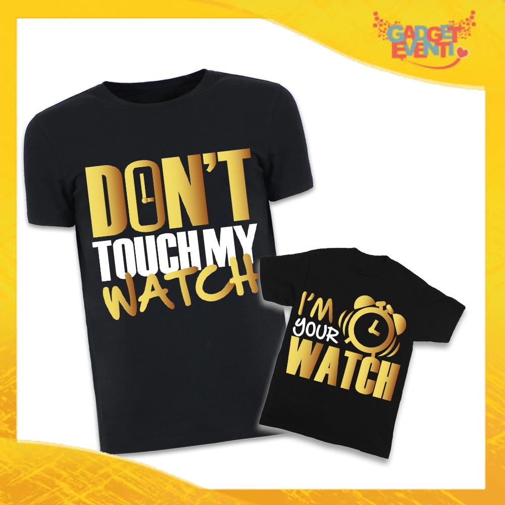 """Coppia di T-Shirt Nere Padre Figlio Grafica Oro """"Don't Touch My Watch"""" Magliette Idea Regalo Originale Festa del Papà Gadget Eventi"""