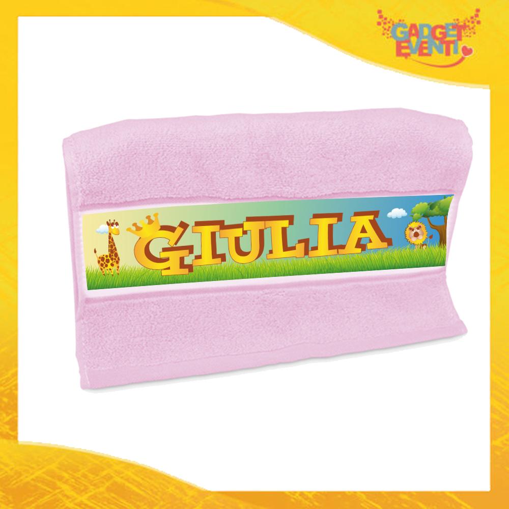 """Asciugamano Bimba Personalizzato Rosa """"Safari"""" Gadget Eventi"""