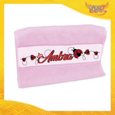"""Asciugamano Bimba Personalizzato Rosa """"Coccinella"""" Gadget Eventi"""