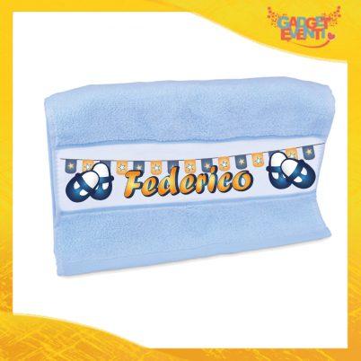 """Asciugamano Bimbo Personalizzato Azzurro """"Scarpine"""" Gadget Eventi"""
