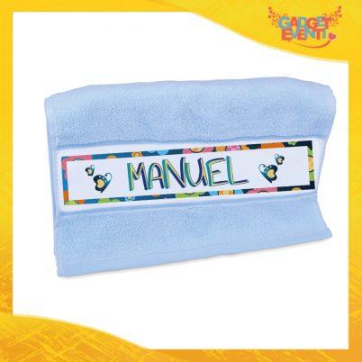 """Asciugamano Bimbo Personalizzato Azzurro """"Farfalle"""" Gadget Eventi"""