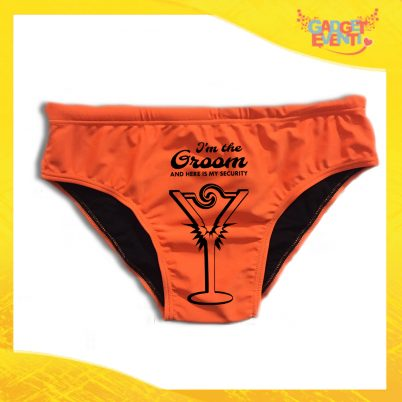 "Costume Celibato Slip Arancio Fluo Personalizzato ""Groom Security"""