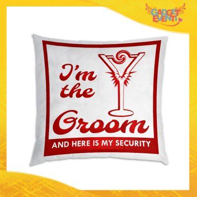 """Cuscino Quadrato Uomo Divano Letto Poltrona """"Groom Security"""" Idea Regalo Addio al Celibato per Coppie Gadget Eventi"""