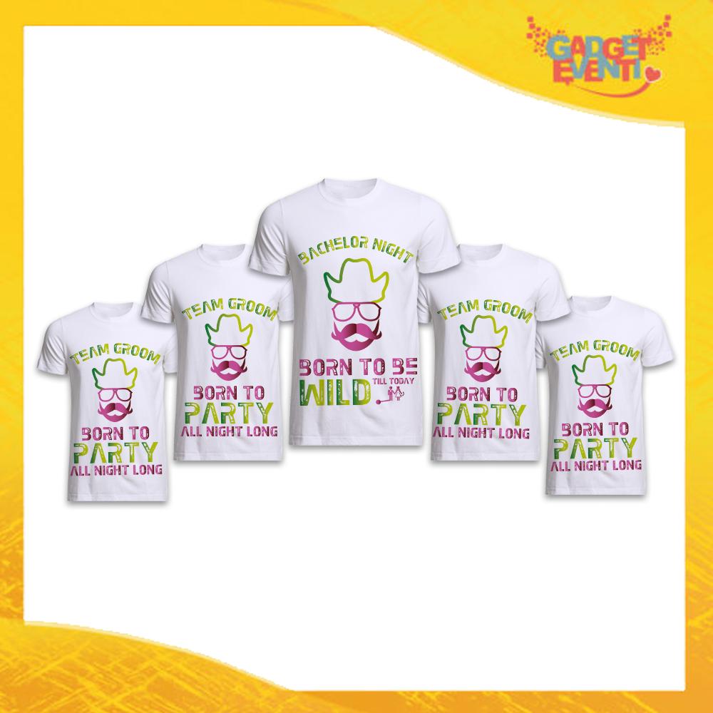 """Pacchetto di T-Shirt Bianche Uomo """"Born to Be Wild"""" Addio al Celibato Smanicato Maschile Divertente per feste e Party pre matrimoniali Gadget Eventi"""