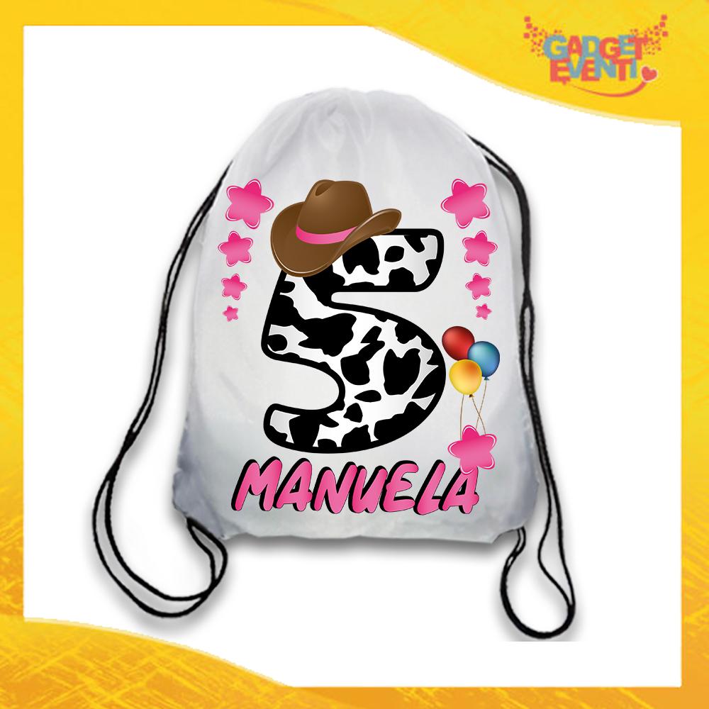 """Sacca Sport Personalizzata """"Cowboy Nome e Numero"""" Zaino Bimba Idea Regalo Gadget Eventi"""