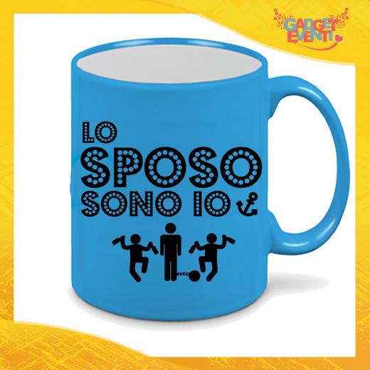 """Tazza Fluo Blu Personalizzata """"Lo Sposo Sono Io"""" Mug Colazione Breakfast Idea Regalo Per Addii al Celibato Gadget Eventi"""