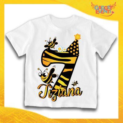 """T-Shirt Bianca bimbo/a """"Apetta Nome e Numero"""" Maglietta Idea Regalo Per Compleanni Gadget Eventi"""