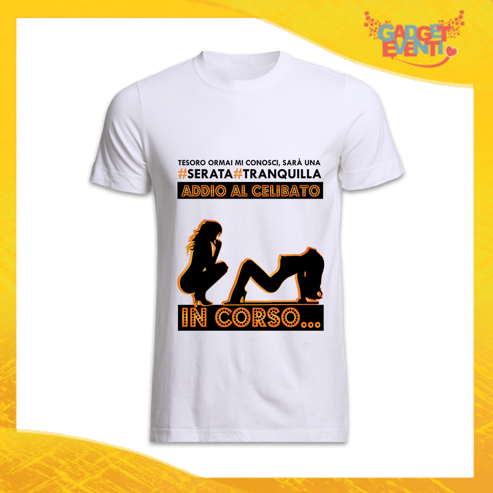 """T-Shirt Uomo Bianca Addio al Celibato Maglietta """"Serata Tranquilla Sposo"""" Gadget Eventi"""